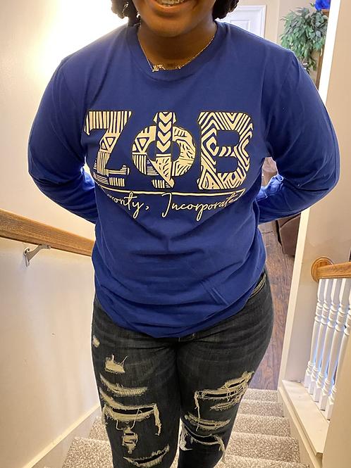 Zeta Phi Beta Royal Tribal Letter T-shirt