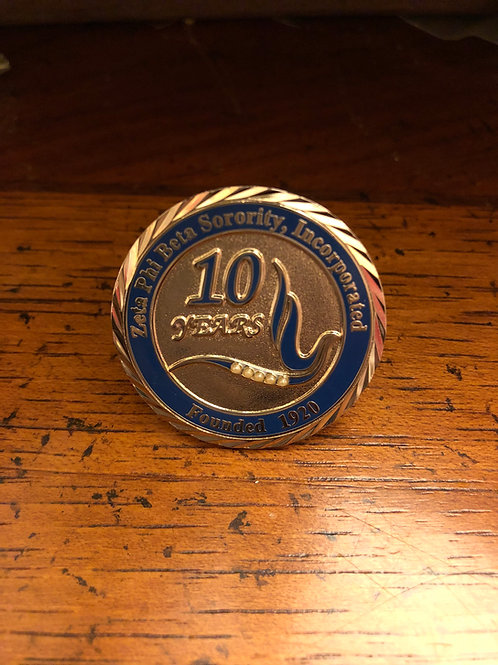 Zeta 10 Year Anniversary Lapel Pin