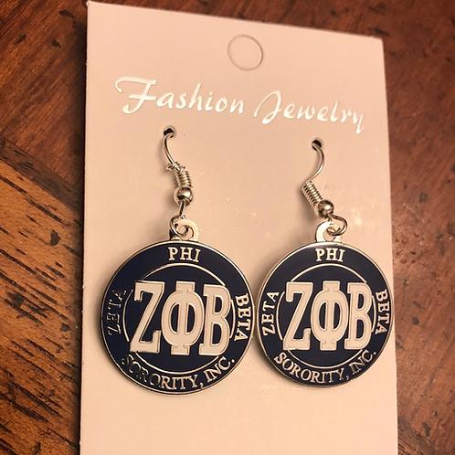 Zeta Phi Beta Blue Round LTR Earrings