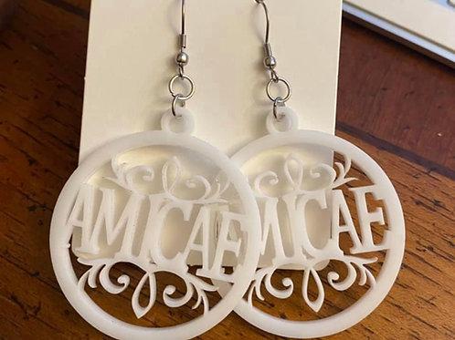 Zeta Amicae Designer White Acrylic Earrings