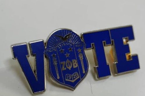 PREORDER- Zeta Shield Vote Lapel Pin