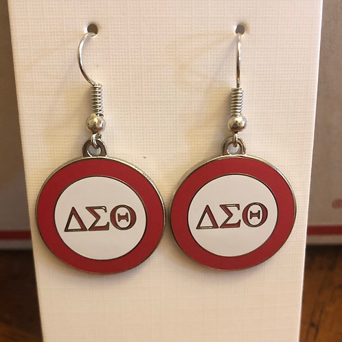 Delta Red and White LTR Earrings