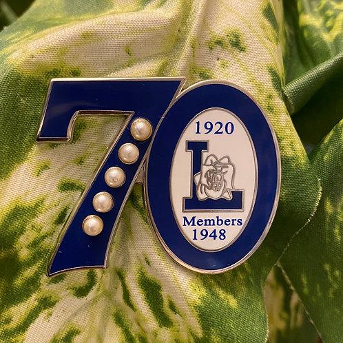 Zeta Life Member 70th Anniversary Pin