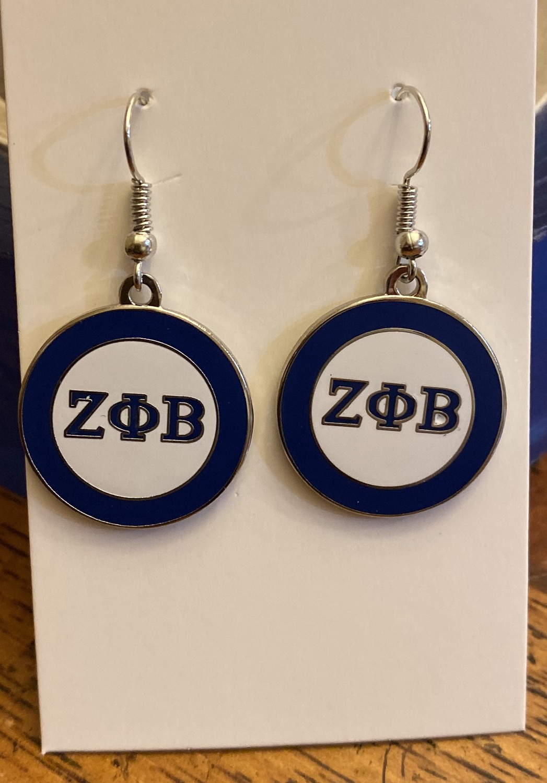Zeta white and Blue Earrings