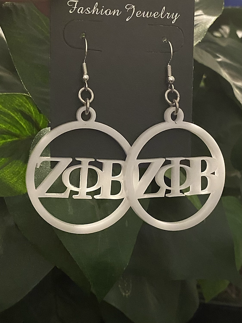 Zeta Phi Beta White Acrylic Earrings