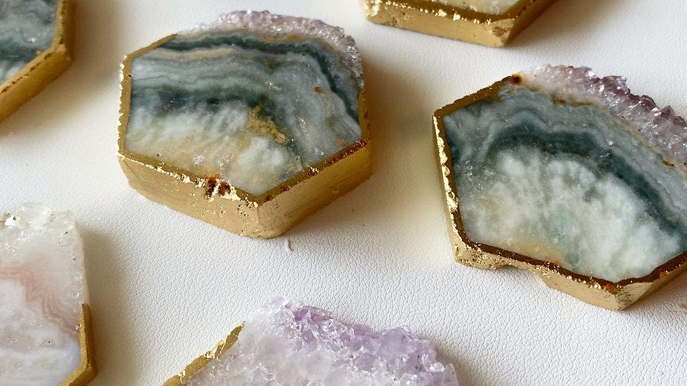 Quartz & Agate Badge Reel Stones