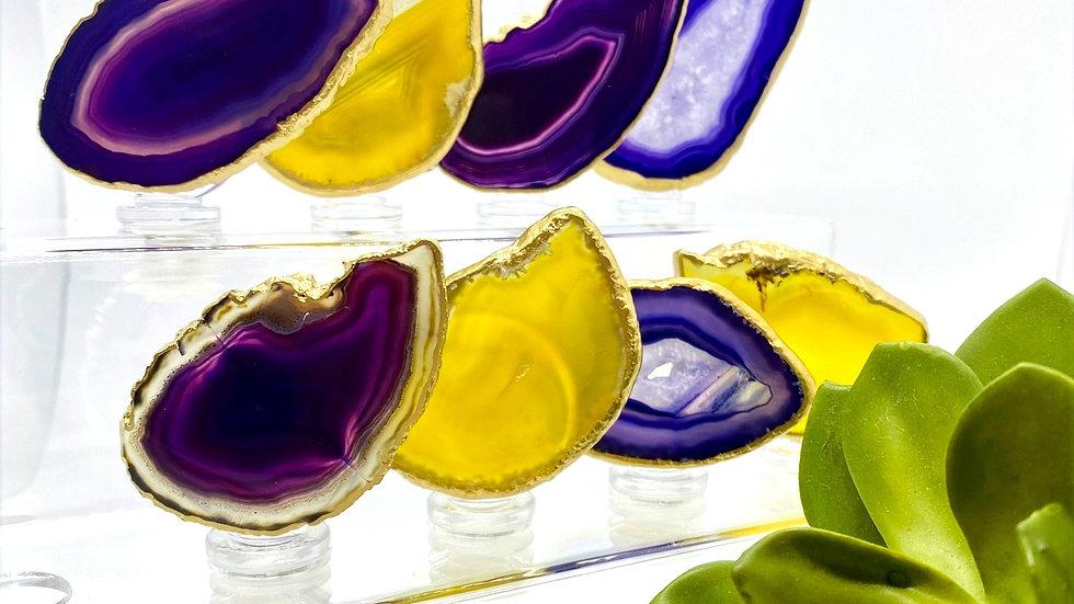 Wine Bottle Stoppers - Purple/Yellow
