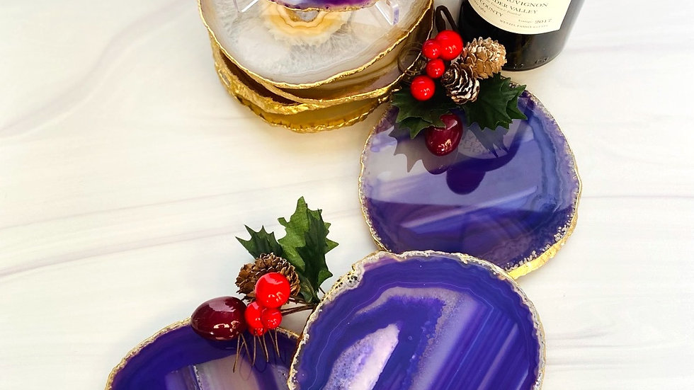 Large Purple Coaster Set of 4