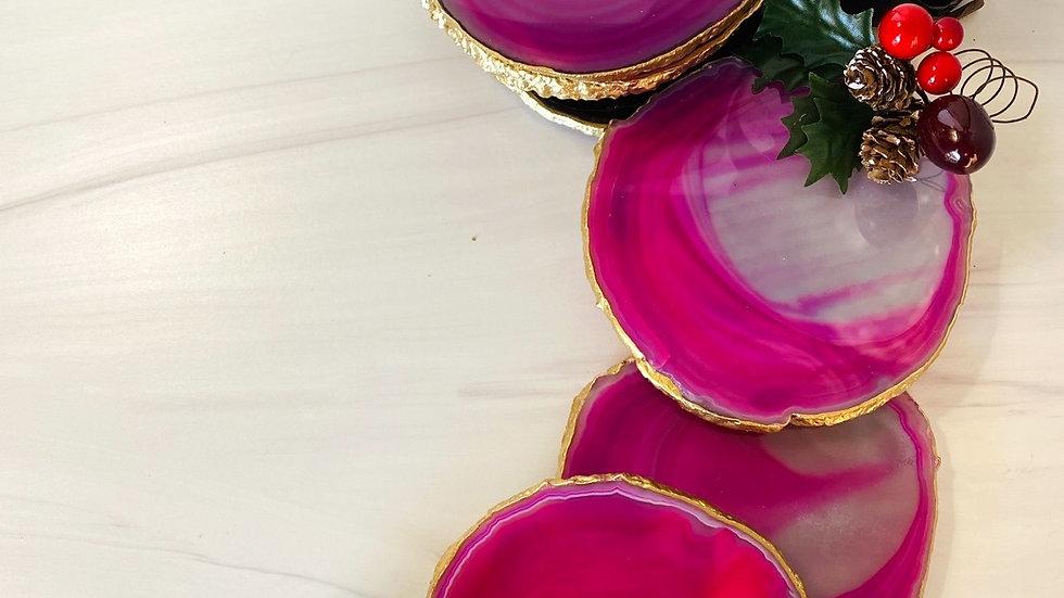 Large Pink Coaster Set of 4