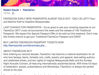FAERIECON EARLY BIRD PASSPORTS ALMOST SOLD OUT!!!