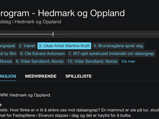 "Artist of the week at ""NRK Hedmark & Oppland""!"