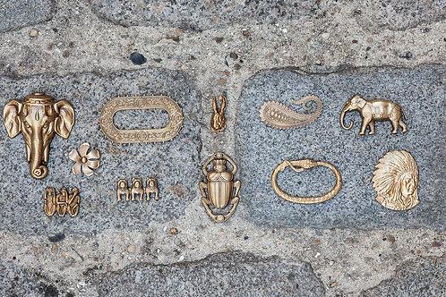 Eléphant-Fleur-Ovale-Singe-Bouledogue-Lapin-Scarabée-Parsley-Cobra