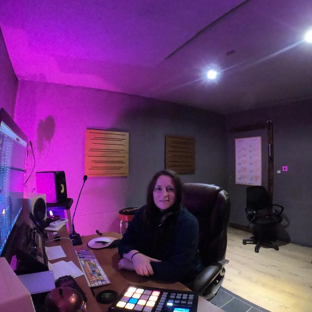 Aubrey in the studio