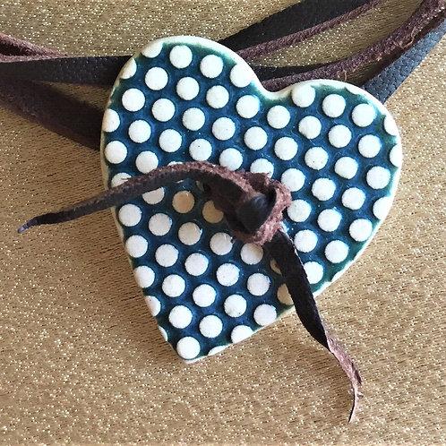 Clay heart leather wrist wrap