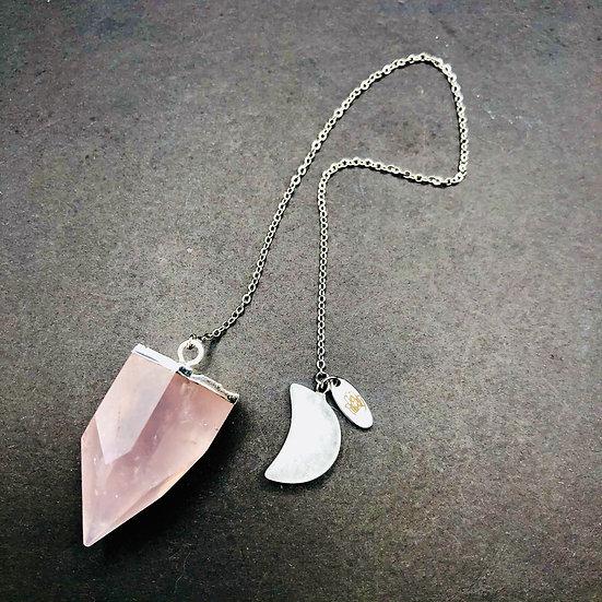 Pendule de quartz rose et quartz clair