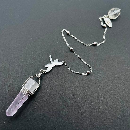 Pendule   améthyste & quartz clair