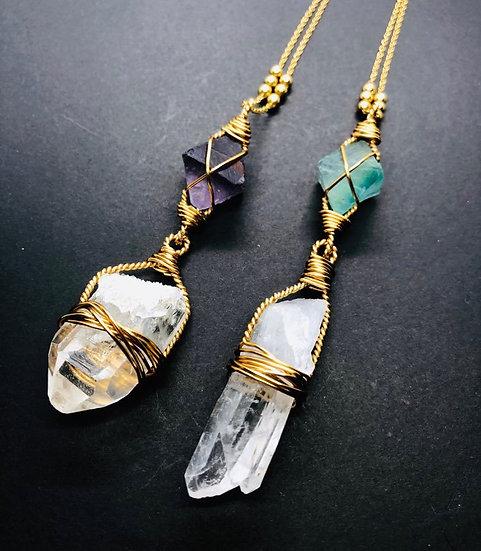 Fluorite et pointe de quartz