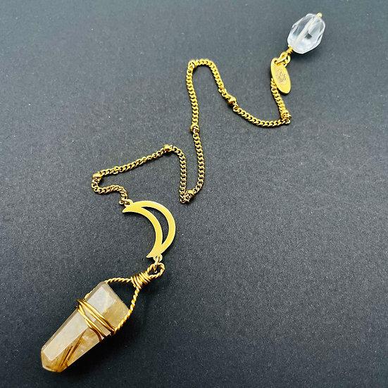Pendule | quartz rutilé & quartz