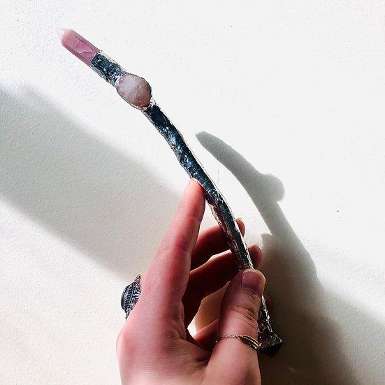 Baguette magique | opale rose, pierre de lune, fluorite