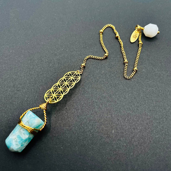 Pendule   amazonite & quartz clair