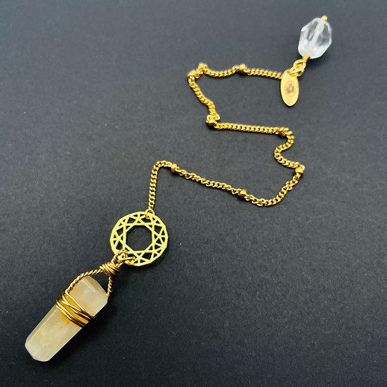 Pendule | guérisseur doré & quartz