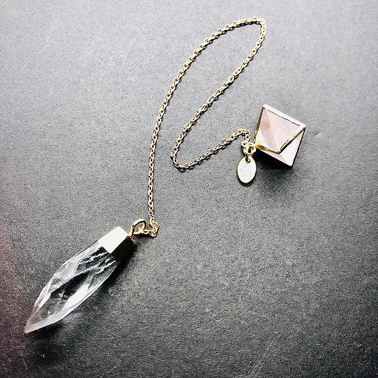 Pendule   quartz clair et quartz rose
