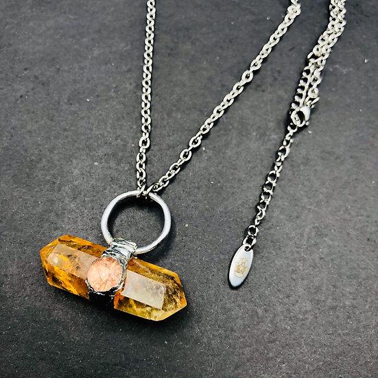 Citrine et quartz clair