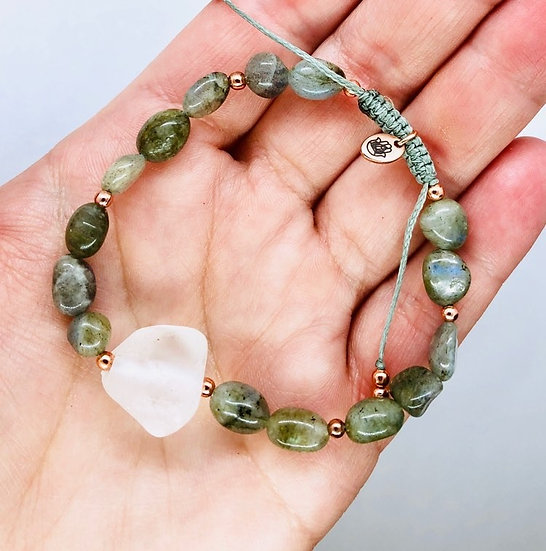 Labradorite et quartz clair