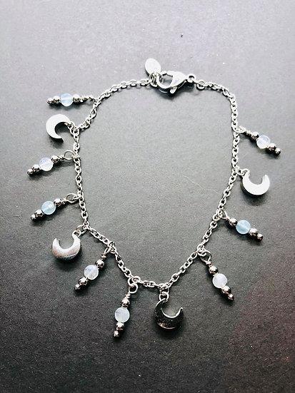Bracelet à breloques | aigue marine et pierre de lune