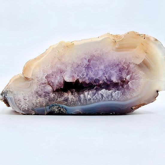 Amétrine et agate | géode naturelle