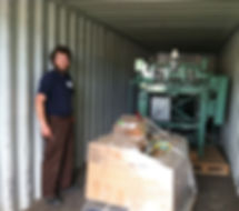 Matt in the shipping container unloading equipment
