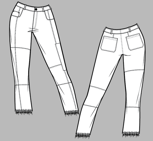 Patchwork jean flat sketches