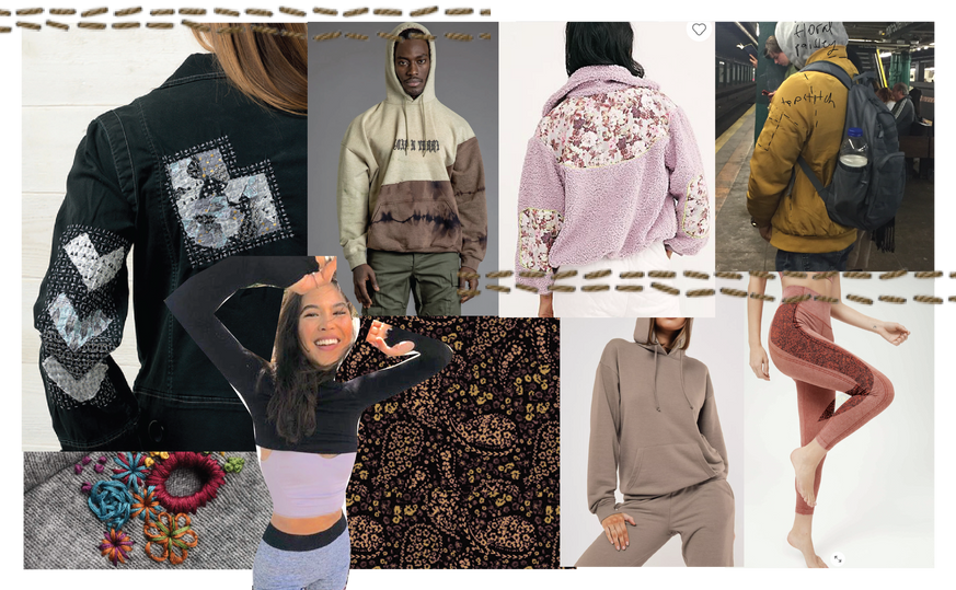 inspo board~ print mixing, patchwork, active athlesiure