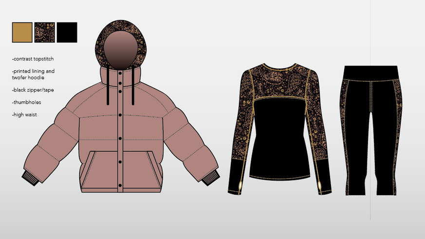 Initial sketches~ lounge set + puffer w/ removable hoody