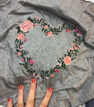Embroidered floral heart