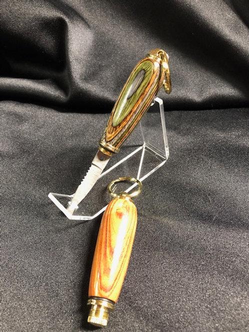 Tulipwood & Dymondwood Keyring Knife