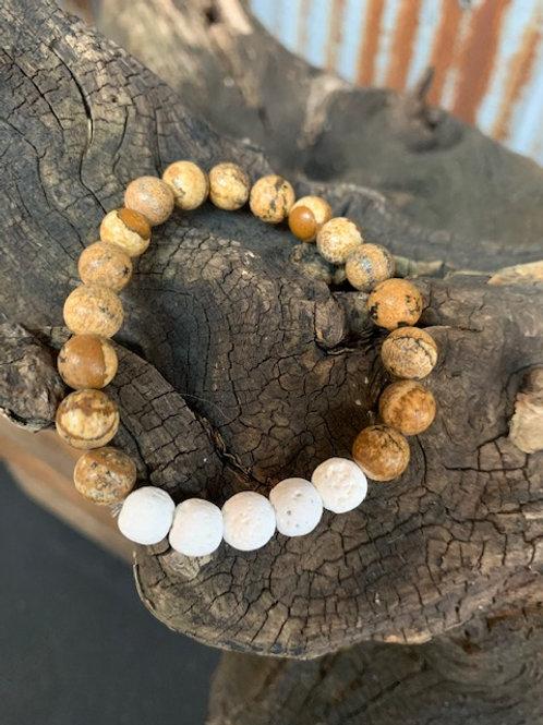 White Lava Stone & Jasper Diffuser Bracelet