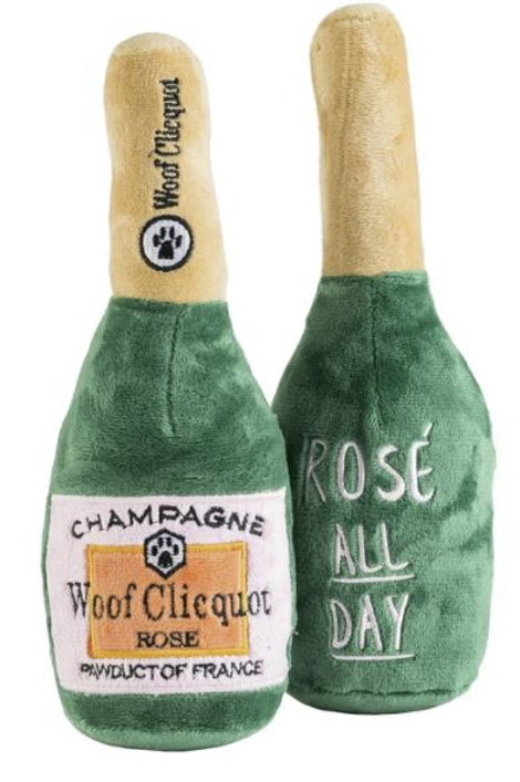 Woof Clicquot Rose' Champagne Bottle Pet Toy