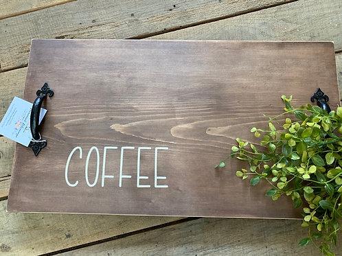 Coffee Wood Tray w/Handles