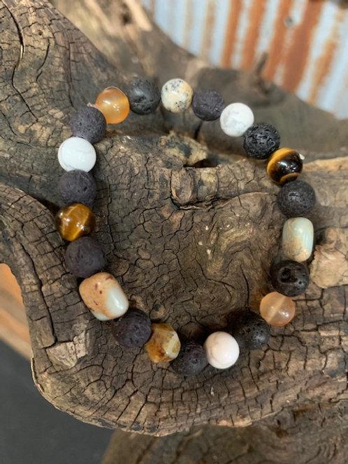 Lava Stone & Semi Precious Stones Diffuser Bracelet