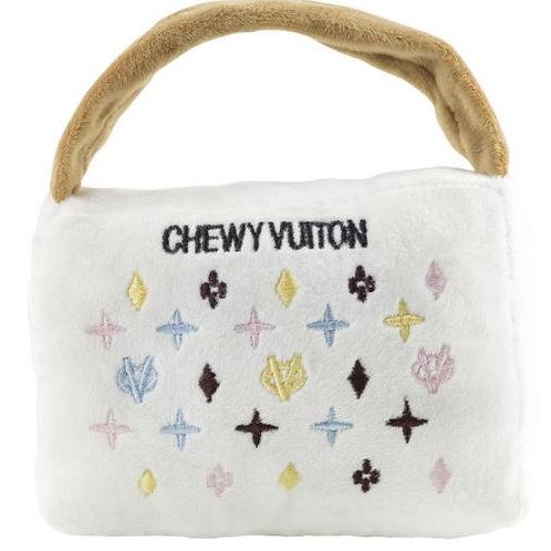 White Chewy Vuiton Handbag Pet Toy