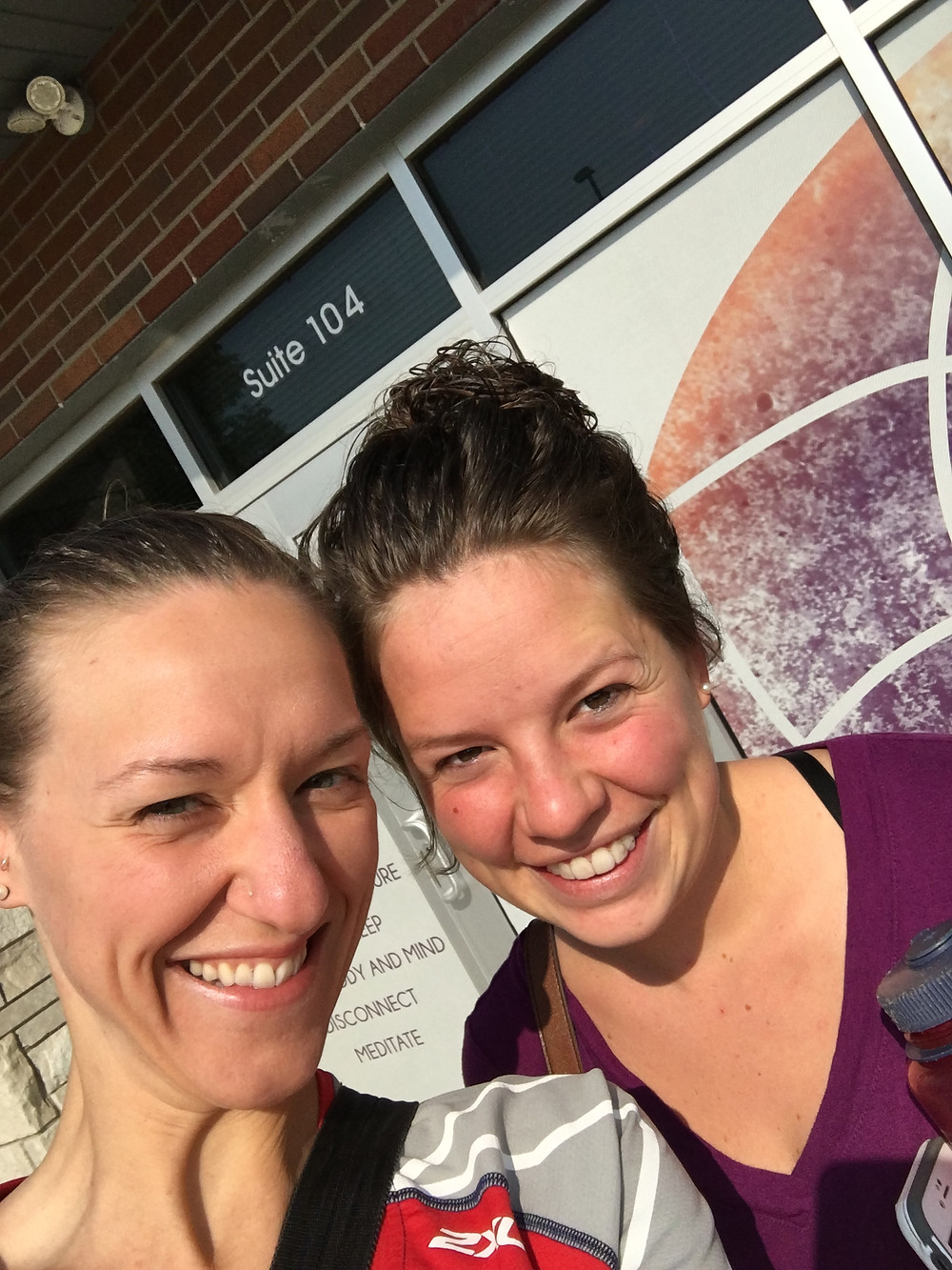 My good friend Emily and I, who checked out the center (Emily is a super amazing massage therapist in Pella)