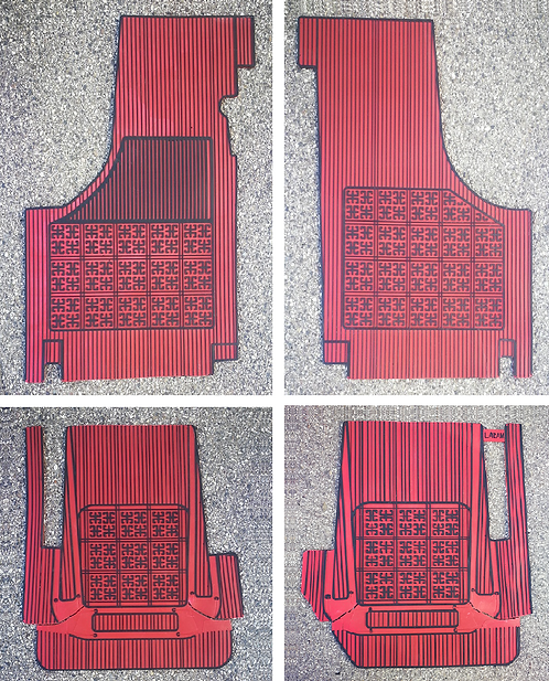 Sovratappeti Fiat 500 e Bianchina in gomma base rossa righe nere