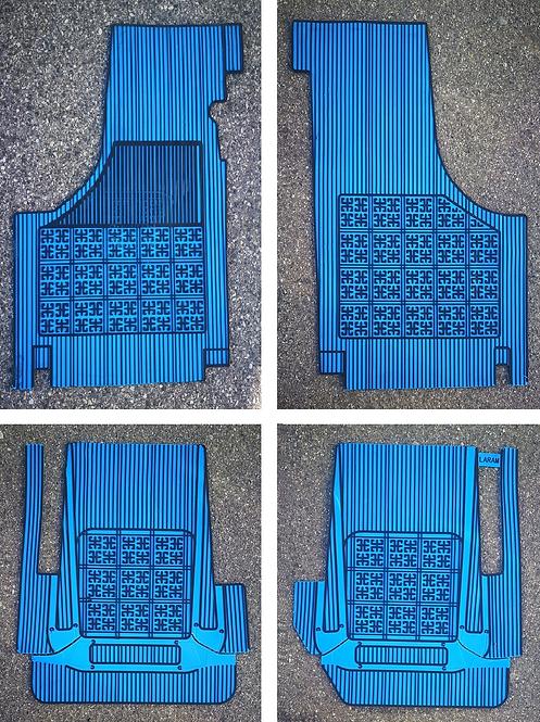 Sovratappeti Fiat 500 e Bianchina in gomma base azzurra righe nere