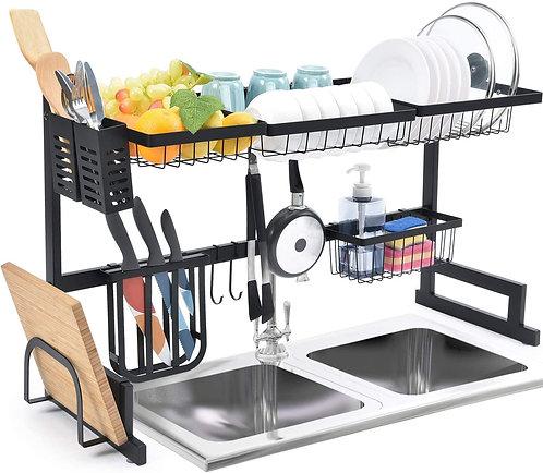 65/85cm Kitchen Racks Dish Drainer Black Stainless Steel Kitchen Sink Dish Rack
