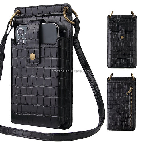 Crocodile Leather Cell Phone Crossbody Bag Wallet Mobile Phone Bags Cases