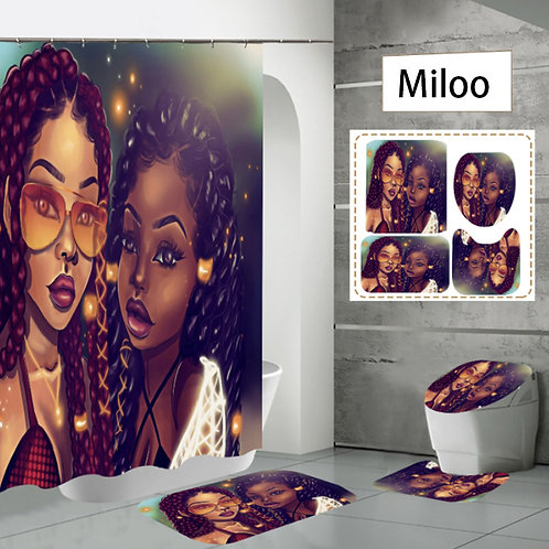 African American Sexy Girl BH Carpet and Mat With Waterproof Shower Curtain Set
