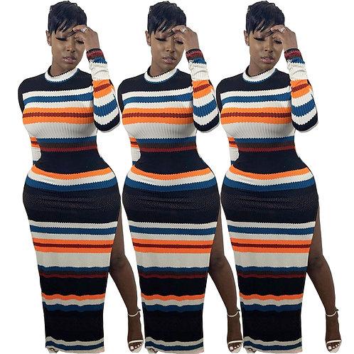 Women's Crew Neck Long Sleeves Slim Knit Bodycon High Split Striped Ribbed Dress
