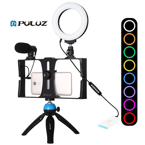 Portable PULUZ 4in1 Vlog Video Live Streaming Kits 4.7 Inch RGBW LED Ring Light