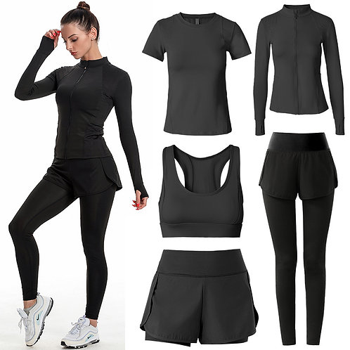Women Apparel Seamless Yoga Suit Sports 5 Piece Gym Clothes Fitness Clothing